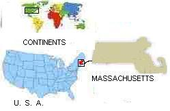 Map of continents, USA, & Massachusetts