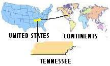 Map of Continents U.S.A. and Tennessee